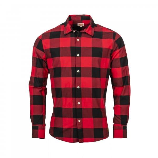 chemise ajustée héritage Armor lux en coton rouge à carreaux noirs